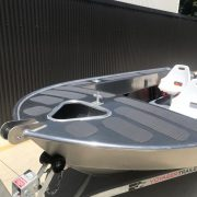 The FC 390 Tiller Steer is an alloy tinny boat designed to be safe, stable and an economical craft that has a great profile and is a great alternative to a fibreglass boat. This Aluminium boat is easily handled by a single person, as well as being versatile and safe enough to accommodate up to four people as a great alloy fishing boat.